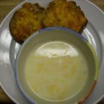 Potato soup and cheese bread