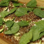 Spinach, zucchini, quinoa, cottage cheese lasagna