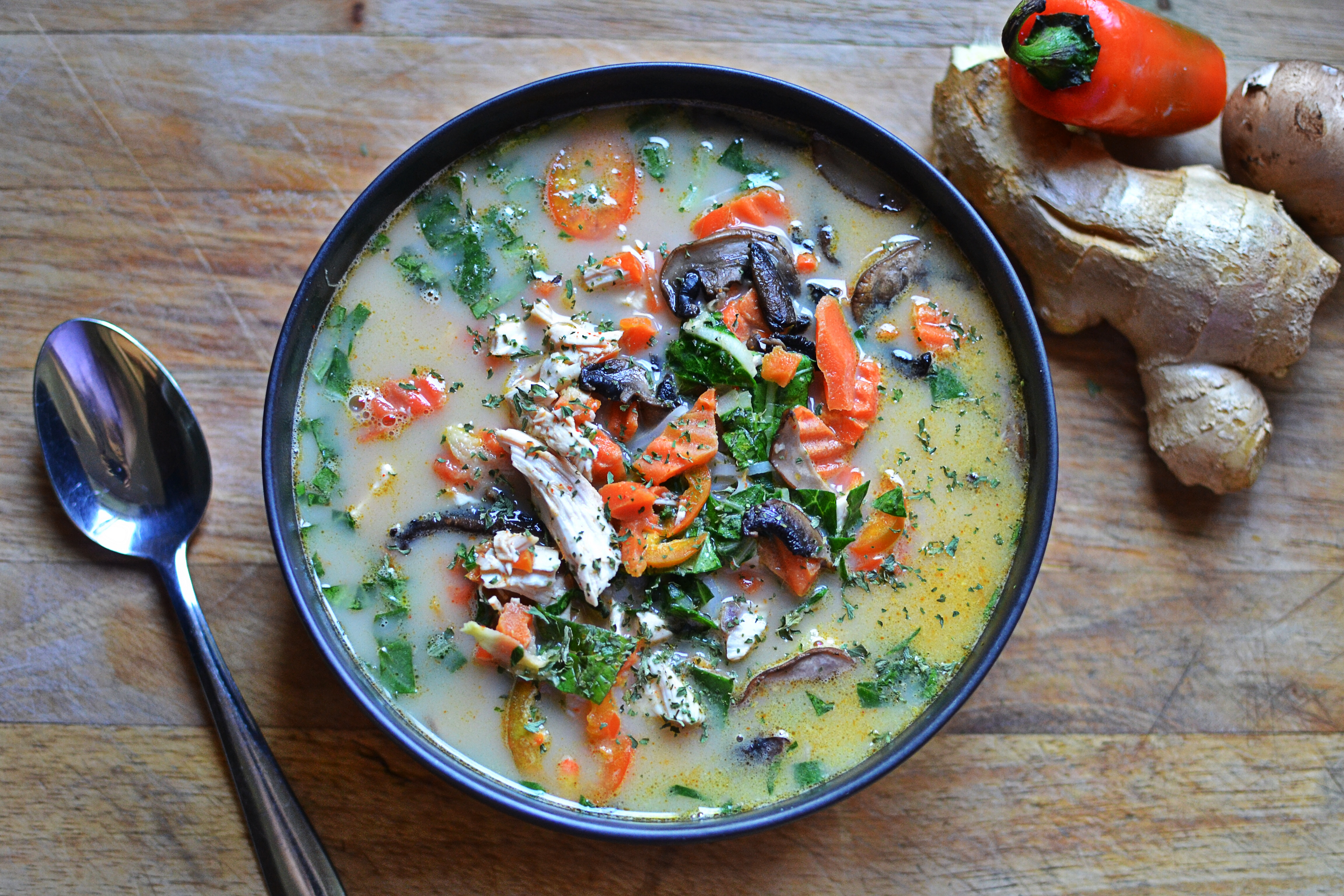 A spicy Thai coconut soup that is delicious!
