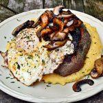 Steak with Polenta, Mushrooms and Fried Egg