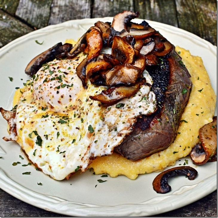 Steak with Polenta and Mushrooms